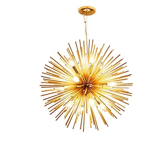 Araña de diente de león sala de estar dormitorio iluminación accesorio suspensión satélite sputnik colgante colgante ligero oro palitos