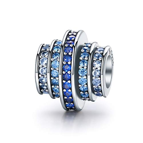 Dian Jewellery Azul Melodía Charm Cuentas con Circonita Cúbica - Pulsera Charm para Charm Pandora Pulseras, Feliz Aniversario Cumpleaños Charms para Pulsera