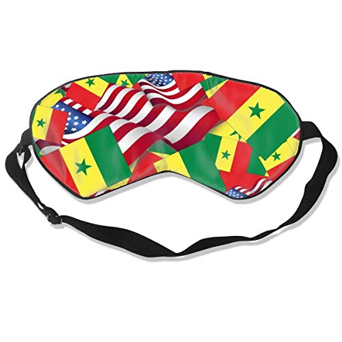 Schlafmaske Senegal-Flagge mit Amerika-Flagge, Seidenmaske mit verstellbarem Kopfband, Block, leichtes Nickerchen