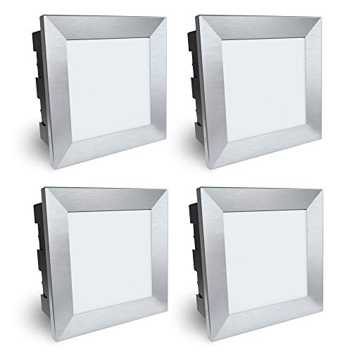 SSC-LUXon Piko-LQ Wandeinbauleuchte LED aussen 4er Set mit IP65 & 3,5W warmweiß 230V - Einbau Wandleuchte eckig 135x135 mm