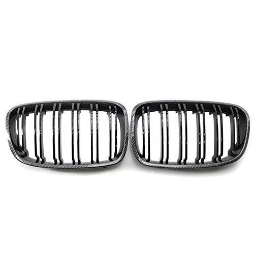YRRC-ZT Barbacoa, Mirada Al Carbono Parachoques Delantero para Parachoques De Doble Lámina Frontal Ridny Grill Grille para BMW F20 F21 118I 120I 2010-2014 Accesorios