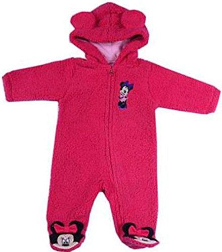 Disney Combinaison polaire d'hiver pour fille avec capuche et oreilles Minnie Violet/rose - Rose - 62 cm -68 cm