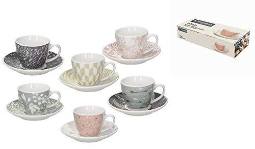 Tognana IR685345565 Confezione 6 Tazze caffè con Piatto, Porcellana