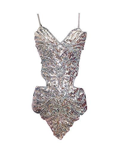 Damen Latein Tänze Tanzkostüme Kleidung Pailletten Salsa Tango Tanzkleid Silber Eine Größe