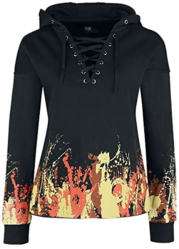 Black Premium by EMP Kapuzenpullover mit Flammenprint und Schnürung Frauen Kapuzenpullover schwarz M