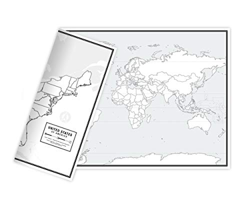 "Educational Blank Outline Maps, 2-Sided World & US, 17"" x 11"", 50-Pack 
