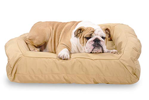 K9 Ballistics Tough Bolster Nesting Medium Dog Bed - Washable, Durable and Waterproof Dog Beds - Made for Medium Dogs, 27'x33', Tan