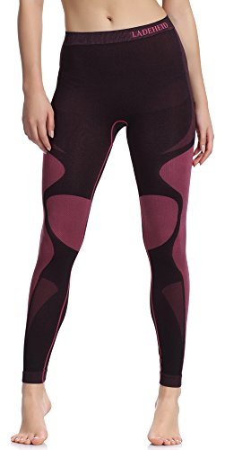 Ladeheid Damen Funktionsunterwäsche Lange Unterhose Thermoaktiv (Schwarz/Rot, S)