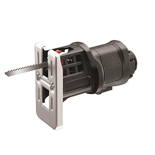Black+Decker Multievo Stichsägen-Kopf (14,4V Multifunktionswerkzeug-Zubehör, 0-2500 Hübe pro Minute, 13 mm Hublänge, variable Geschwindigkeit, präzises Schneiden, inklusive 5 Holzsägeblätter) MTJS1
