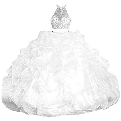Dydsz Women's Quinceanera Dresses 2 Pieces Long Prom Sweet 16 Dress Ball Gown Halter D229 White 2