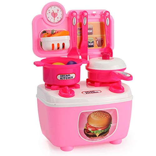 Juego de juguetes de cocina, dibujos animados para niños, cocina pequeña, niña, cocina, juguetes para la casa, juego de cubiertos de cocina para bebés, interacción entre padres e hijos (rojo A)