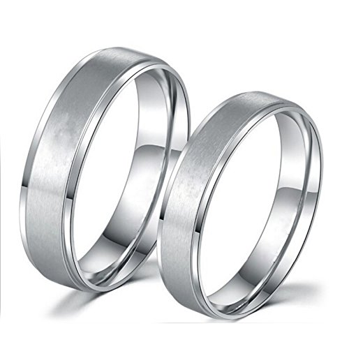 Daesar 2 PCS Ringe Edelstahl Bandringe Paar Ringe Partnerringe Hochglanzpoliert Rund Breite 6/8 MM Verlobungsring Hochzeit Ringe Silber Damen Gr.52 (16.6) & Herren Gr.65 (20.7)