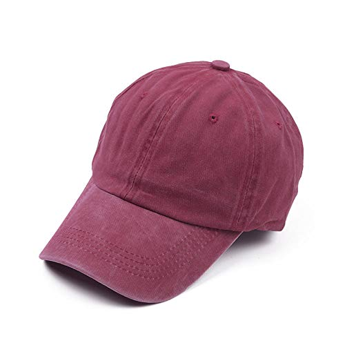 BAJSKD Pigmento Retro Apenado Tapa Tapa de béisbol Gorra de béisbol Estilo Damas algodón Rebote Hip-Hop Sombrero-Vino Tinto