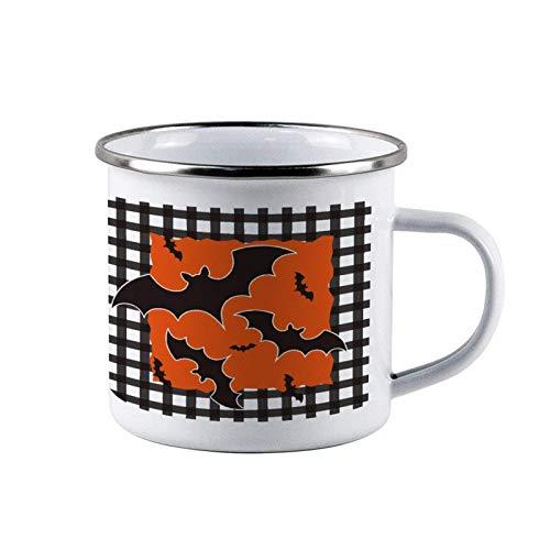 Tazas de acero esmaltado Orange Bat Happy Halloween, tazas de lata de café de viaje esmaltadas para acampar, tazas duraderas para fogatas al aire libre con asa para niños, hombres, papás, regalo de ot