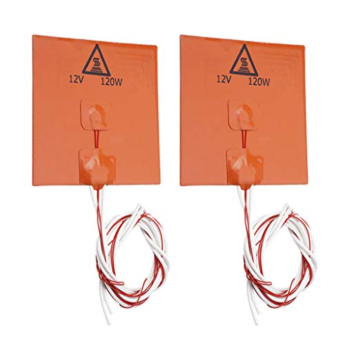 3D Printer Silicone Heated Pad, Heating Plate 120 * 120 * 3mm, 120W 12V Heater Bed, Orange,Pack of 2