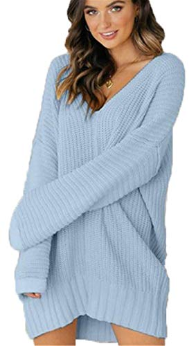 Soluo Women V Neck Knit Sweater Oversized Loose Knitted Long Sleeve Pullover Long Dresses Tops Sweatshirts - blue - Small