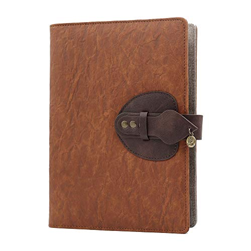 Taccuino in Pelle A5,SEEALLDE Notebook di Composizione per Riutilizzabile con Tasca Travel Diary Cartella per Conferenze Notebook 200 Pagine Spesse Regali per Partner