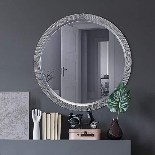 WOMO-DESIGN Espejo de Pared Salvador Ø64 cm Redondo de Cristal Marco de Metal Plateado Colgante de Diseño Moderno Elegante Circular Decorativo de Baño Espejo de Maquillaje Tocador Vestidor