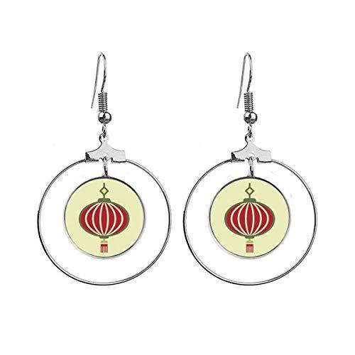 Lantaarn China Patroon Art Deco Gift Mode Oorbellen Dangle Hoop Sieraden Drop Cirkel