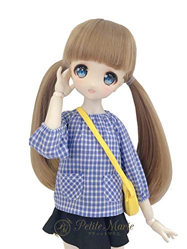 Petite Marie Japan for 1/4 Doll 16 inch 40cm MDD (Mini Dollfie Dream) MSD BJD Cute Gingham Check Smock Cotton Long Sleeves with Bag Kindergarten (Blue) [No.0079] Clothes Only not Include Doll
