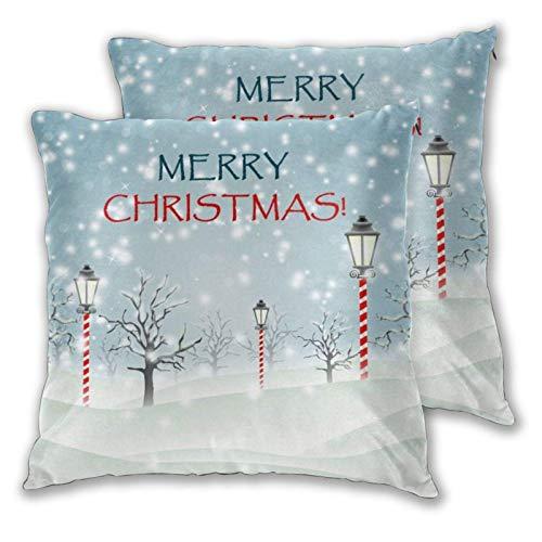 AEMAPE Soft Square Throw Kissenbezüge, Road Lamp Christmas 2 Pack dekorative Kissenbezüge Kissenbezüge für Sofa Schlafzimmer Auto 40X40 cm