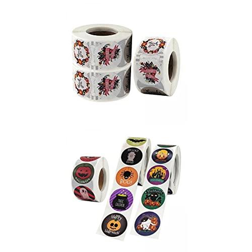 SM SunniMix 6 Rollos de Etiquetas Adhesivas de Sello de Halloween Decoración de Vacaciones de Papel Autoadhesivo