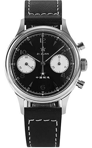 Sugess Panda 1963 ST1901 - Reloj mecánico para hombre, cronógrafo con cuello de cisne de zafiro, color negro
