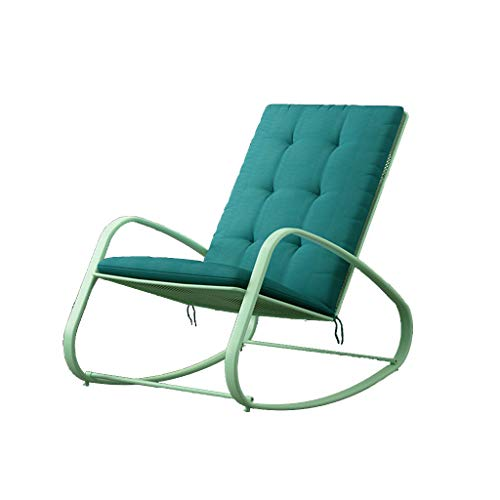 XBD Terrasse Rocking Chair, Fer forgé Lavable Coussin Relax Lounge Chair Home (Color : D(Cyan with Green Cushion))