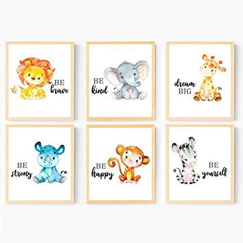 Vivero Imprimir Jungla Bebé Animales Arte de la lona Pintura Carteles Imágenes Habitación del bebé…