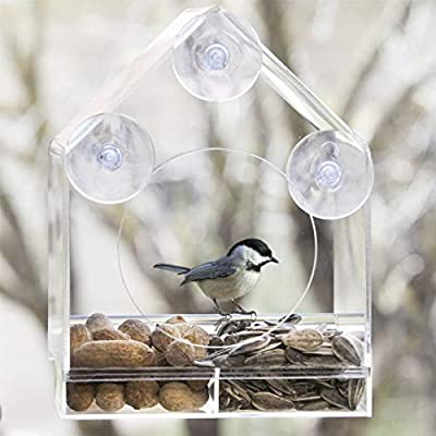 Hortafix Wild Bird Window Feeder - removable tray, weather resistant, enclosed sides from Hortafix
