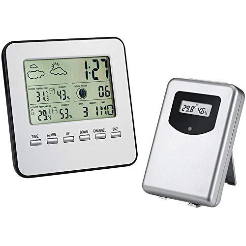 JVSISM Estación meteorológica actualizada, termómetro digital para interiores y exteriores, sensor remoto, estación de predicastres, humedad, reloj, despertador