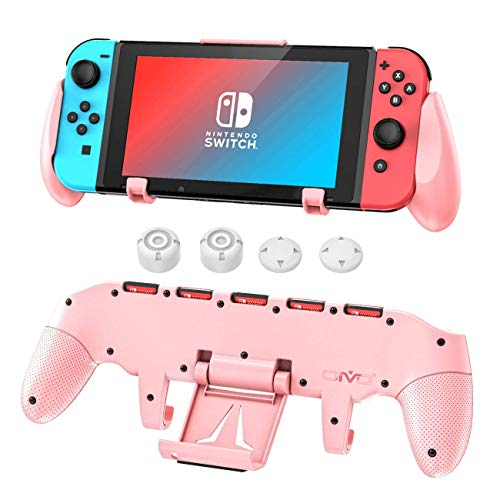 Switch Pink Grip Compatible with Nintendo Switch, OIVO Ergononmic Hand Grip, Upgraded with Adjustable Stand for Nintendo Switch- Pink