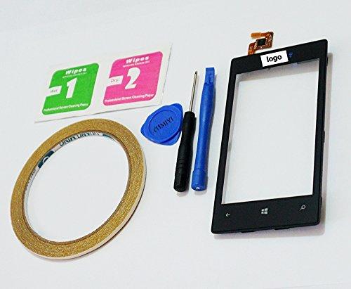 MIYI Nuevo Negro Pantalla Táctil Digitalizador Cristal Frontal + Frame Reemplazo para Nokia Lumia 520 N520 + Adhesivo + Herramientas + Limpieza