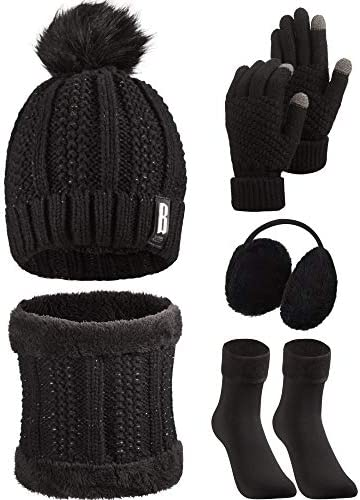 5 Pieces Women Winter Ski Outing Set Knit Hat Scarf Gloves Earmuffs Stockings Black product image