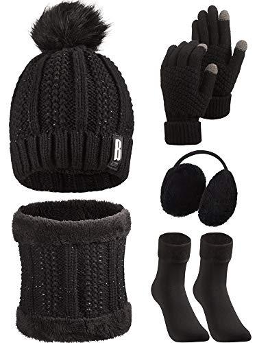 SATINIOR 5 Stücke Frauen Winter Ski Outing Set, Strickmütze Schal Handschuhe Ohrenschützer Strümpfe (Schwarz)