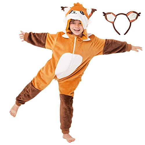 corimori 1851 Faye der Fuchs Kinder Jungen Mädchen Onesie Jumpsuit Anzug Kostüm Verkleidung (Gr. 90-110cm) Orange-Braun