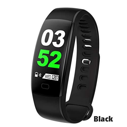 FXMINLHY Wasserdichtes Smart Armband Fitness Tracker Schrittzähler Fitness Band Wecker Vibrationsarmband Für Smartphone, Schwarz Herzfrequenz-Schrittzähler