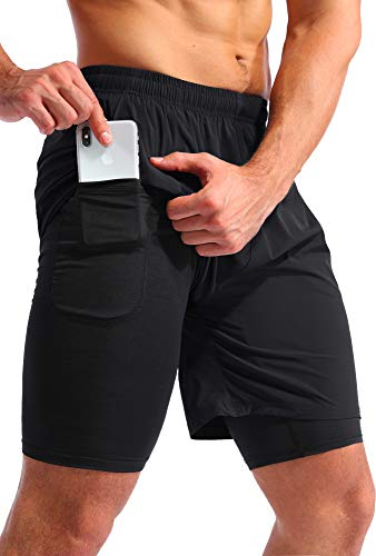Pudolla Men's 2 in 1 Running Shorts 7