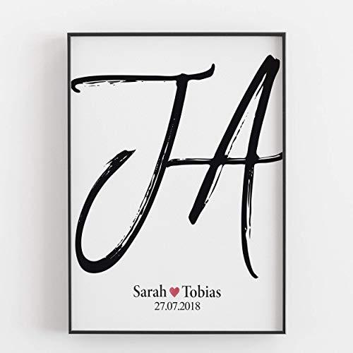 Gastgeschenk zur Hochzeit für Brautpaar Hochzeitsgeschenk personalisiert Geschenk persönlich Kunstdruck Bild Hochzeitsbild Ja Mann Frau ungerahmt