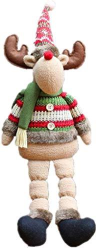 DINEGG Weihnachtsflanelette Puppe mit Elch super Nette Weihnachten Plüschspielzeug Lange Bein sitzende Puppe Weihnachtsverzierungen 1 Stück Geschenk für Kinder YMMSTORY