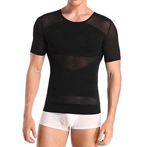 Herren Kompression Unterhemd Figurformende Shapewear Bauchweggürtel Fitness Workout Tank Tops Abnehmen Body Shaper Funktionsshirt (Black 134, 3XL)