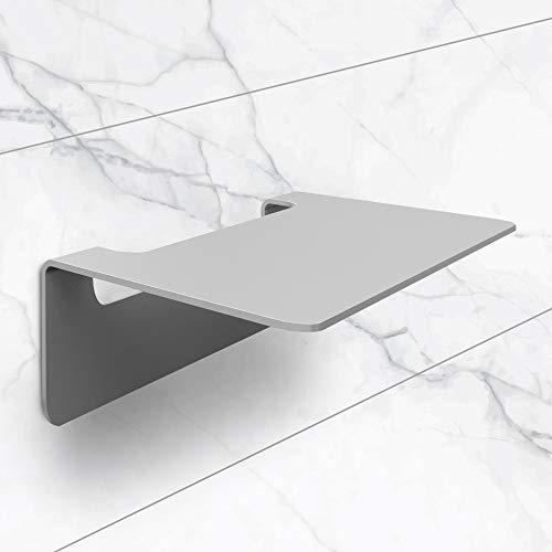 tradeNX Badablage ohne Bohren - Edelstahl matt 14 cm - Selbstklebende Ablage für Bad, Dusche & Küche - 14 x 9,5 x 5 cm