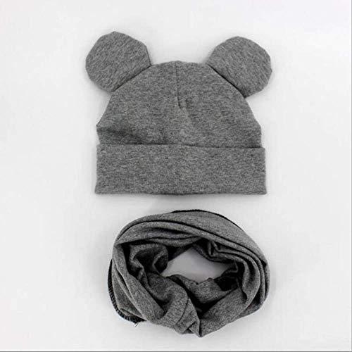 Primavera y otoño Sombrero para bebé Bufanda Sombrero de Color sólido Niño Niña Algodón Tejido Niño Guisante Bufanda Gris Estilo 2