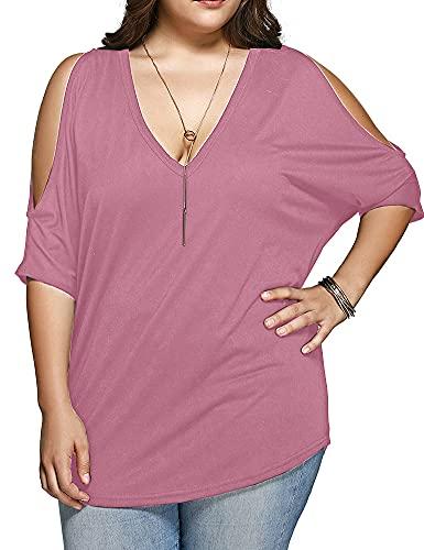 Allegrace Women Plus Size Tops V Neck Short Sleeve Batwing Top Cold Shoulder T Shirt Pink 2X