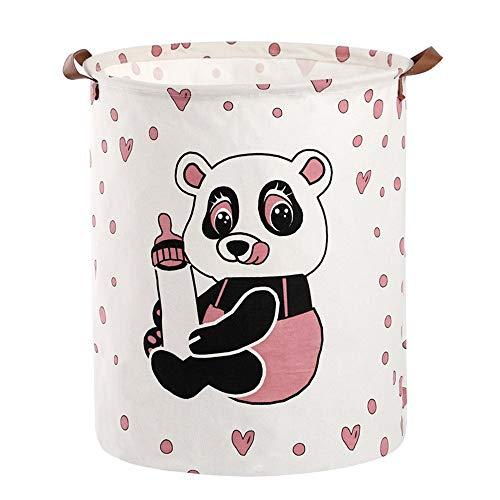 Abrahmliy Wasmand, grote inhoud, motief Panda Sale hamper met handvat van leer opvouwbaar en katoen, linnen, wasmand voor vuile kleding, tas, bewaren van speelgoed