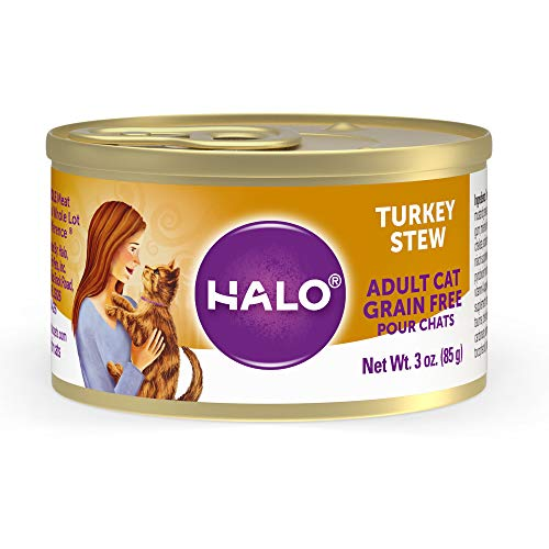 Halo Grain Free Natural Wet Cat Food - Premium and Holistic Whole Meat Turkey Stew - 3oz Can (Pack of 12) - Sustainably Sourced Adult Cat Food that's non-GMO, BPA Free, and Highly Digestible