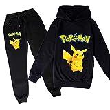 Proxiceen Pokémon - Sudadera con capucha para niños y niñas, de alta calidad, Pikachu, Cosplay, manga larga, sudadera deportiva A1. 130 cm