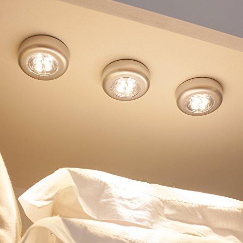 Lights4fun Lot de 3 Lampes Spots Autocollants à Piles avec LED Blanc Chaud pour Intérieur