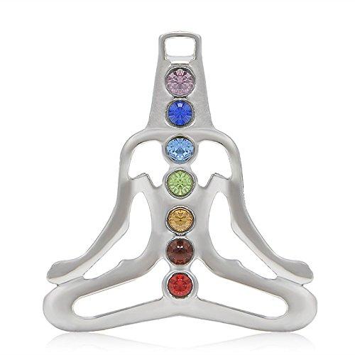 LOVE STORY Natural Gemstone Reiki Chakra Healing Moon Beads Silver Pendant for Necklace (Yoga Meditation Crystal)