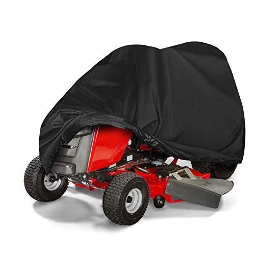 Tvird Lawn Mower Cover,Upgrade Heavy Duty 420D Waterproof Riding Lawn Mower Cover | Features Double Stitched Seams & Interior Waterproof&UV Protection Coating | for Up to 54'' Decks(L72 xW55 xH47)